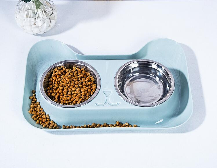 Cat Bowl Anti Ant Stainless Steel Food and Water Double Bowl + Pp  Spill-proof,Nonslip Design