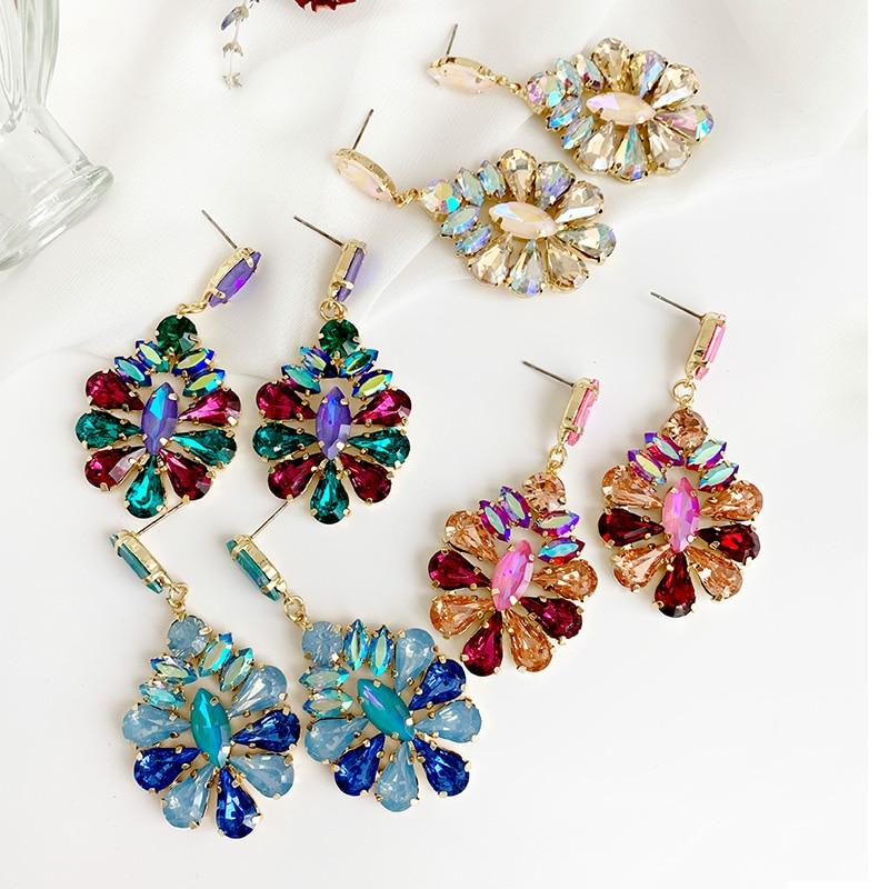 champagne flower Crystal Earrings for Jewelry Luxurious color Bling Crystal long tassel drop Earrings For Women Wedding 2019