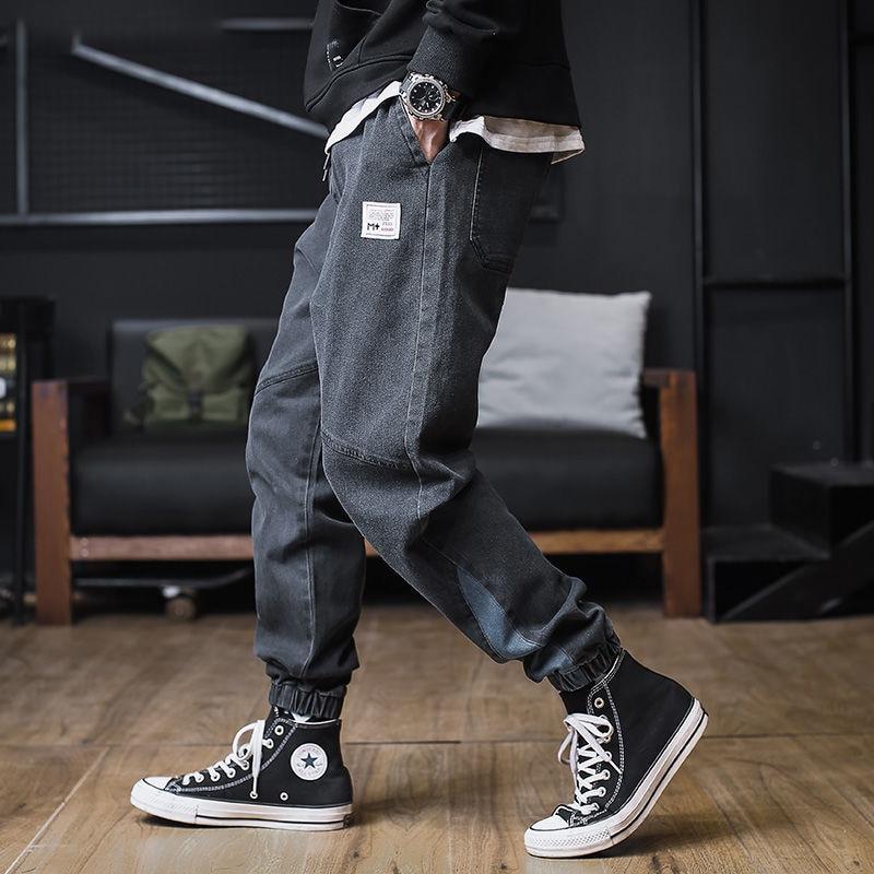 Plus size   Jeans   Men Hip hop StreetWear Joggers Ankle Length Denim Cargo Pants Loose Pocket Harem Trousers Sweatpants