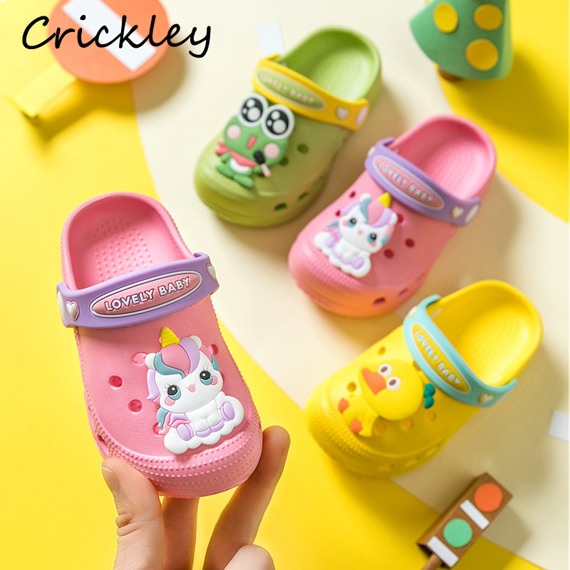 Children Garden Shoes Cartoon Excavator Animal Pattern Croc Summer Slippers For Kids Boys Girls Comfortable Non Slip Beach Shoe