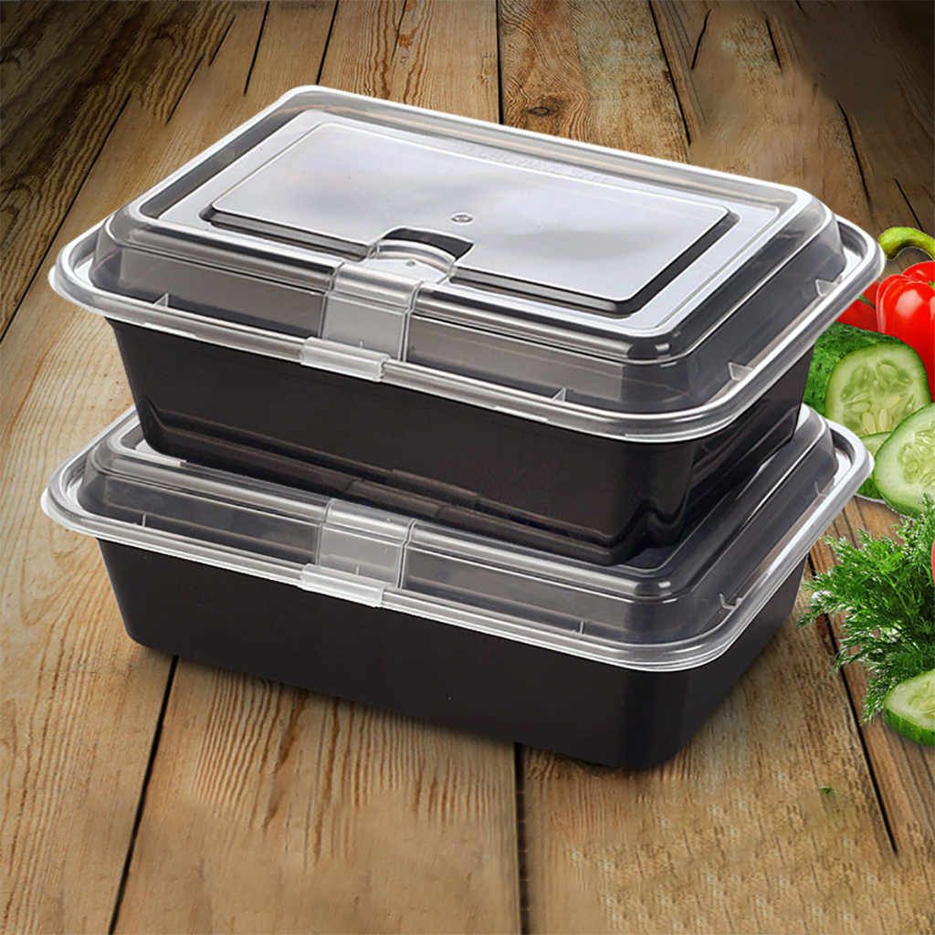 (1/5/15 / 20pc) Takeaway Food Packaging Black Environmentally Friendly Buckle Bento Box Food Storage Disposable Food Containers