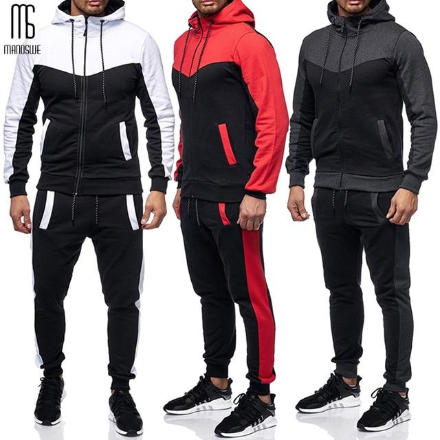 Manoswe costume de sport pour hommes, cordon de serrage, modèle classique, bloc de couleur, décontracté, nouveau Design, poches automne et hiver, grande taille 3XL