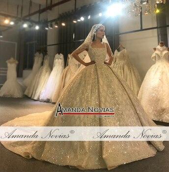 Amanda Novias design real work photos wedding dress stunning full beading bridal dress 2020