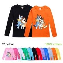 цена на Girls Cartoon Blue Dog Bingo Long-sleeved T-shirt For Children Tops 2020 Spring Children Fashion Clothing Tshirt Cute T shirt