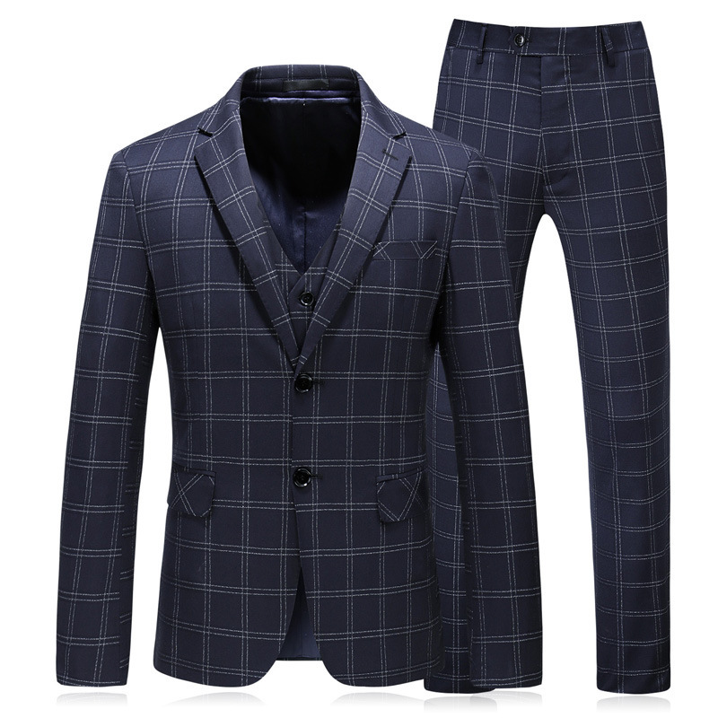 Men's West Slim Body Men's Suit Three-piece Suit Blazer Vest Pants Plaid Wedding Banquet Formal Suit