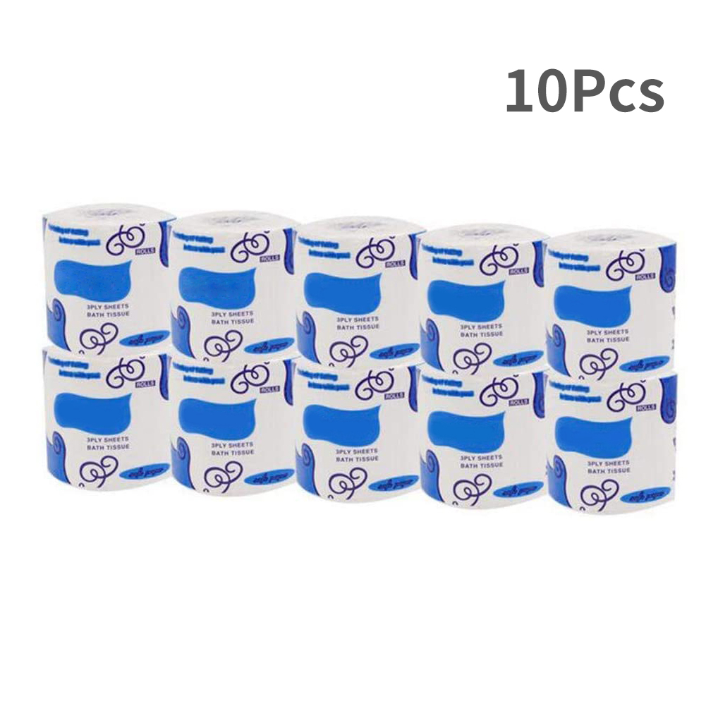 10pcs Paper Towels Toilet Roll Paper White Household Three-Layer Soft Skin-Friendly Bathroom Toilet Living Room Tissue Paper