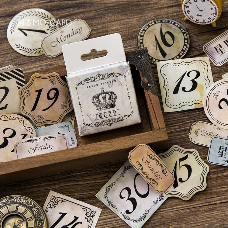 45 Pcs/box Vintage Retro Month/number/week Mini Paper Stickers For Diary Decoration Diy Scrapbooking Stationery Label Sticker