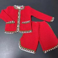 High customsized 2019 Autumn Winter Red Toddler Girls Clothing Set hollow out coat+Pants 2 pieces Knitted Boutique Brand Outwear