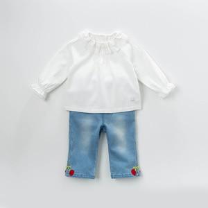 Image 3 - DB13789 dave bella frühjahr baby mädchen nette solide spitze brief shirts säuglings kleinkind tops kinder hohe qualität kleidung