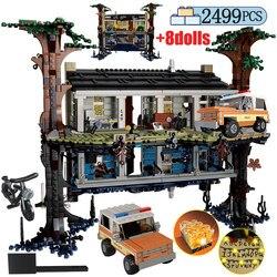 2499 шт город перевернутый мир номер вверх дном строительные блоки дерево дом странная вещь друзья игрушки для детей