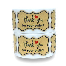 3cm*5cm kraft paper stickers thank you for your order seal labels DIY gift Packaging Present Sticker Handmade stationery sticker