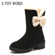 E TOY WORD Winter snow boots female bow-knot Middle tube boots 2019 new warm plus women shoes thick heel fashion cotton shoes new fashion bow snow boots women winter thick warm female ankle boots wild middle tube platform cotton shoes botas mujer 2018