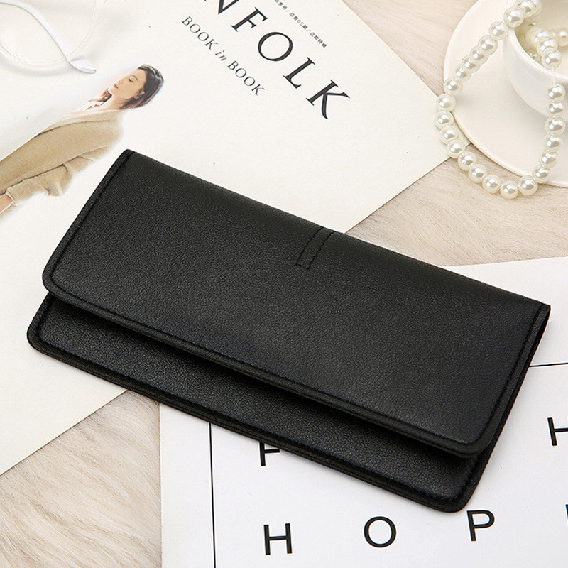 Ougger Women's Long Wallet Female Purses Coin Purse Card Holder Wallets Female Pu Leather Clutch Money Bag Pu Leather Wallet