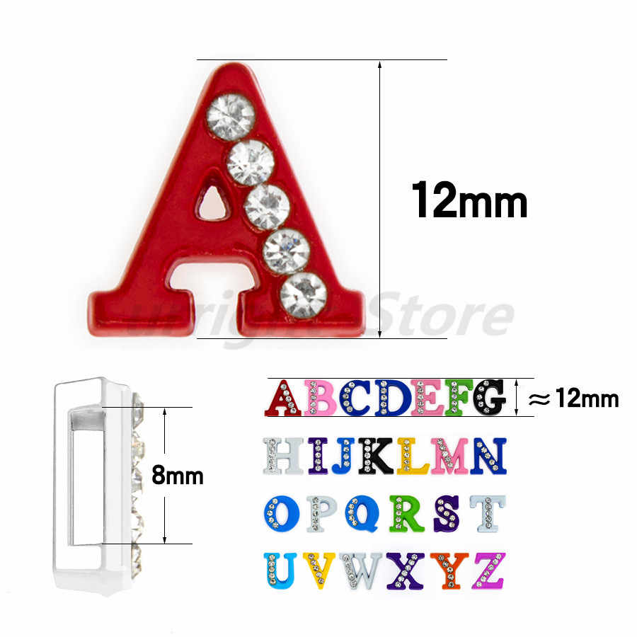 1pc A-Z kleurrijke strass Engels brief Alfabet Interne Dia: 8mm Dia Brief charms Fit DIY sleutelhanger Armband Huisdier Kraag
