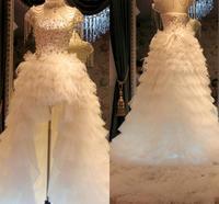 bestidos de novia Custom Made Luxury High Neck Rhinestone Crystal Feathers High Low African Wedding Dress Tiered Weding Gowns