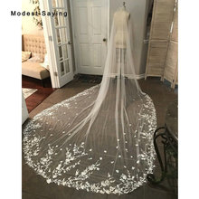 Real Ivory 5 M Lace Cathedral Wedding Veils 2019 Long Bridal