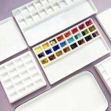Hoge Kwaliteit Keramische Aquarel Palet Rechthoekige Multi-Raster Wit Porselein Palet Kunst Levert Verf Palet Met Deksel