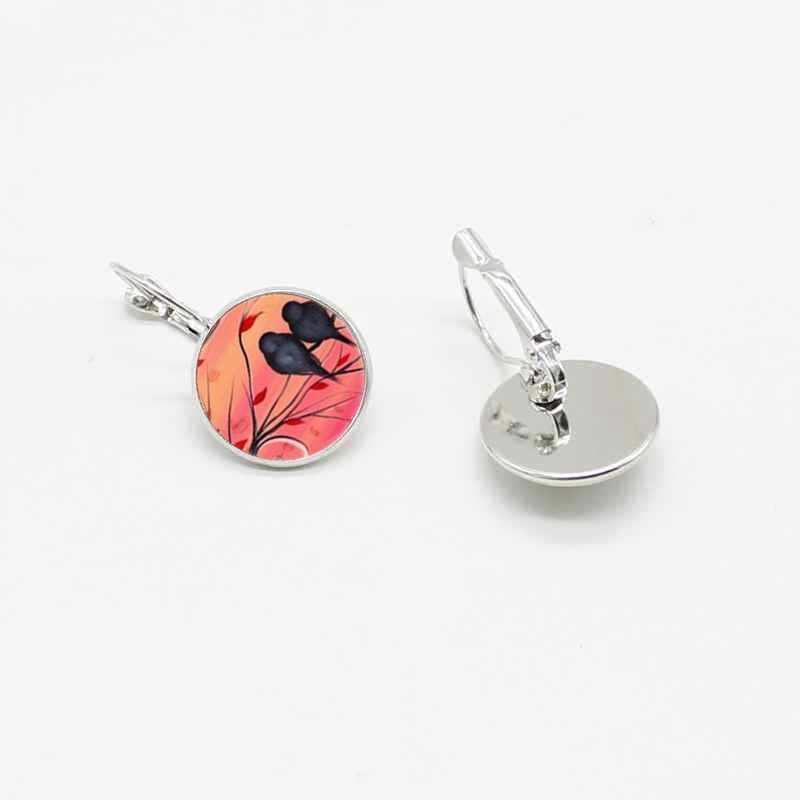 Baru Klasik Hummingbird Azalea Kaca Kristal Bulat Anting-Anting Telinga Hook Perhiasan Aksesoris