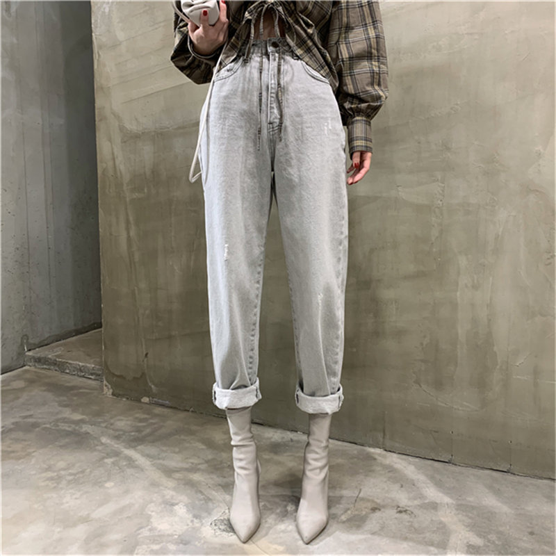 HziriP Grey Women Cowboy Light-Washed Fashion 2020 High Waist Slim Denim Pants Wild New Streetwear Woman Casual Straight Pants