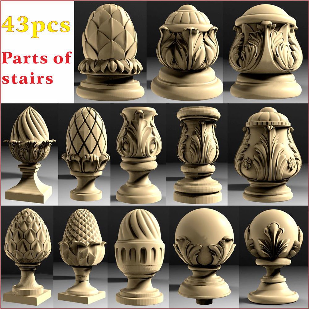 43pcs Baluster Head 3D STL Model  For CNC 4 AXLE Engraver Carvingbed Relief For CNC Router Aspire Artcam