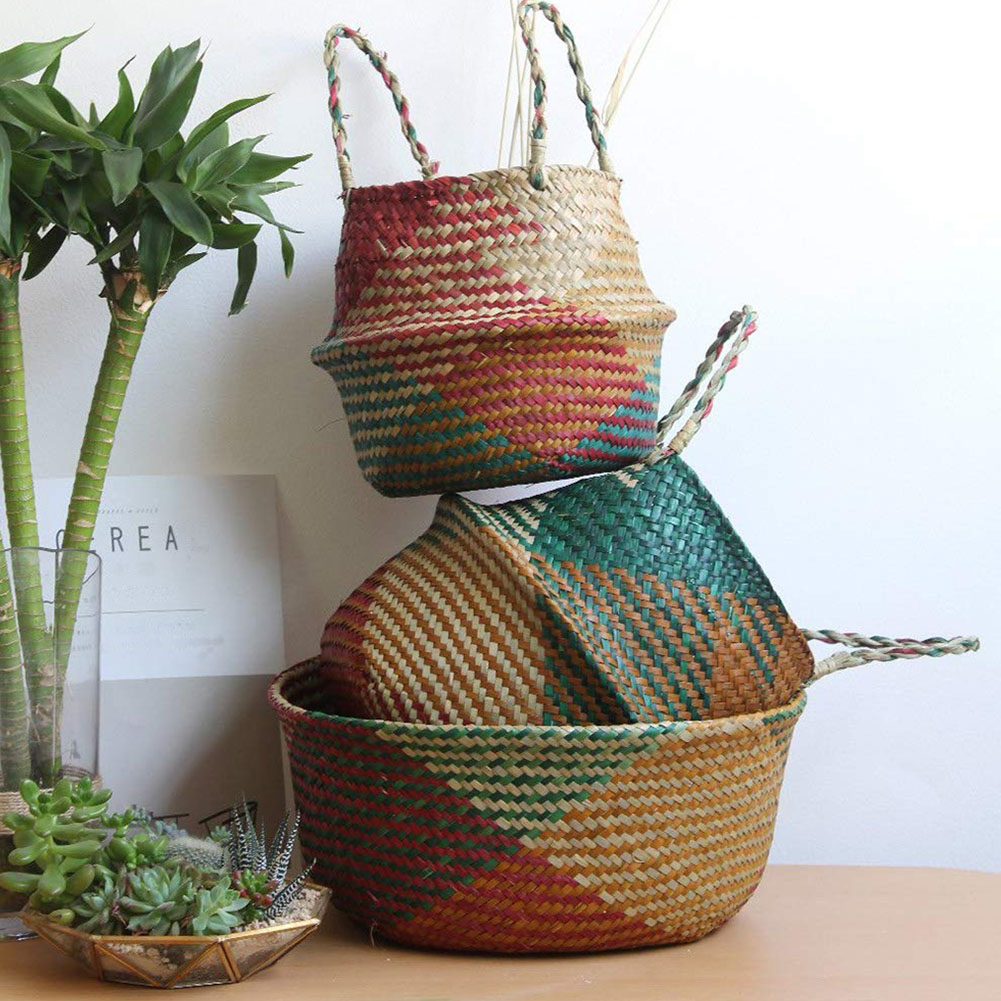 Seagrass Foldable Storage Basket Handmade Bamboo Storage Baskets Natural Rattan Basket Plant Pot Toys Holder Laundry Basket Home
