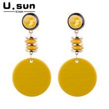 цена на Circle Long Drop Earrings Jewelry for Women Trendy Simple Charm Elegant Resin Acrylic Earring Geometric Ladies Fashion Statement