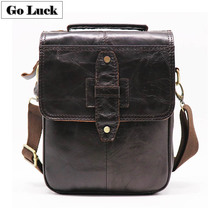 купить GO-LUCK Brand Genuine Leather Top-handle Ipad Mini Handbag Men's Crossbody Shoulder Bag Men Cowhide Messenger Bags Travel Pack дешево
