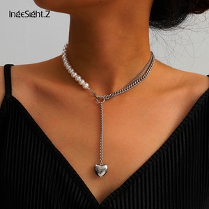 IngeSight.Z Adjustable Punk Imitation Pearl Choker Necklace Collar Asymmetric Love Heart Pendant Long Necklace for Women Jewelry