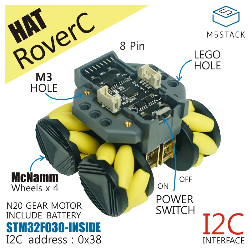 M5Stack Official RoverC Programmable Omnidirectional Mobile Robot Base Compatible With M5StickC STM32f030f4 Microcontroller