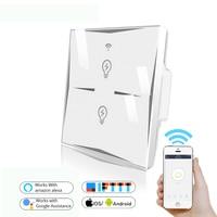 Wifi умный настенный выключатель стеклянная панель ЕС 2CH мобильное приложение пульт дистанционного управления работает с Amazon Alexa Google Home IFTTT не...