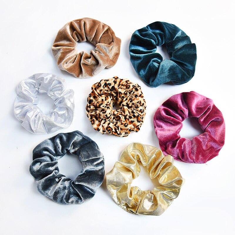 Women Girl Soild Vintage Floral Velvet Soft Leopard Elastic Hair Bands Lady Soft Scrunchies Rubber Bands Female Hair Accessories