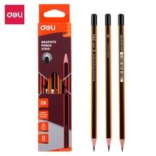 DELI Graphite Pencils for School 1 Box(12PCS)  HB/2B Office Pencil Drawing Pencil Set Pencils for Kids  E37015 E37016 deli 12pcs writing pencil hb 2b standard pencils set professionals artist painting pencil drawing sketch art stationery pencils