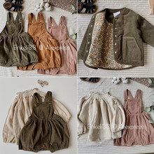 EnkeliBB High Quality Kids Spring Clothes Corduroy made Kids Girls Boy Overalls 1-4Y Children Cute Lovely Bloomer With Strap