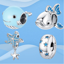 Authentic 925 Sterling Silver Beads Blue Crystal Whale Fish Star Waves Charm Fit Original Pandora Bracelet DIY Jewelry