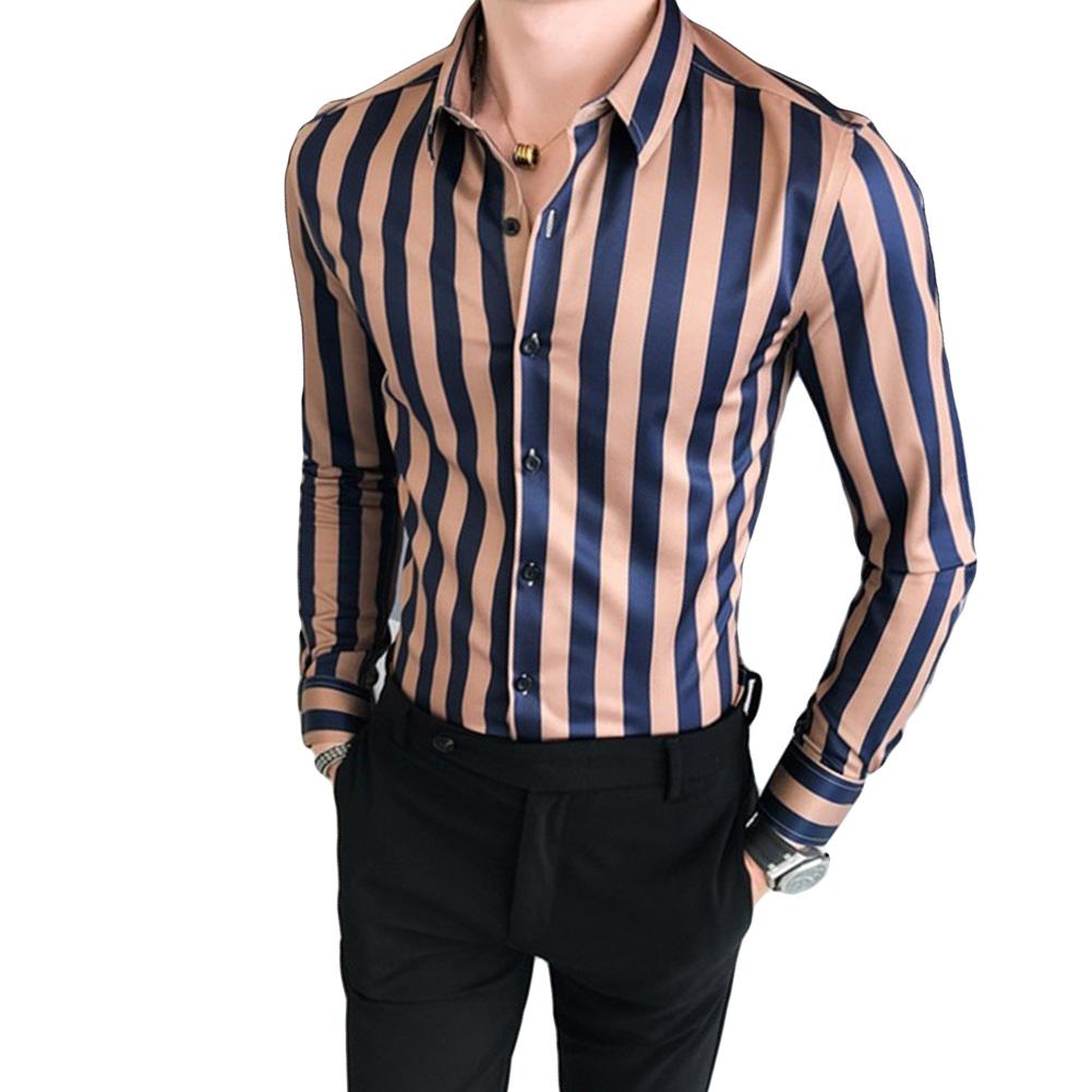 Men Fashion Striped Long Sleeve Turndown Collar Button Blouse Shirt Top Shirts Men Male Slims Fit Shirt Chemise Homme Top Haraju