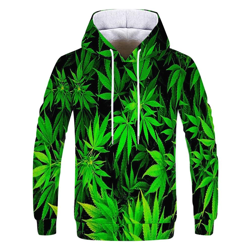 3D Print weed hoodies tops pullover Men/Women Hooded Sweatshirts Casual green weed leaf Hoodie weed 3d hoodies jacket homme