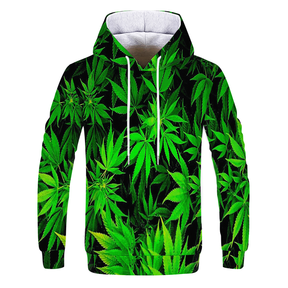 3D Print Weed Hoodies Tops Pullover Men/Women Hooded Sweatshirts Casual Green Weed Leaf Hoodie Weed 3d Hoodies Jacket Homme