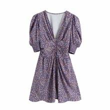 Mini Dress Puff-Sleeve Deep-V-Neck Vintage Women Lady D6200 Flower-Printing Slim Single-Breasted