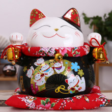 10 inch Black Ceramic Maneki Neko Ornament Lucky Cat Money Box Fortune Cat Figurine Chinese Statue Piggy Bank with Bells