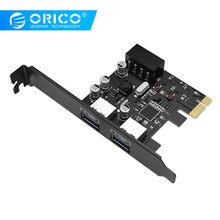 цена на ORICO 2 Port SuperSpeed USB3.0 PCI-E Express card USB 3.0 Hub Adapter PCI-E Expansion Card with a 15pin SATA Power Connector