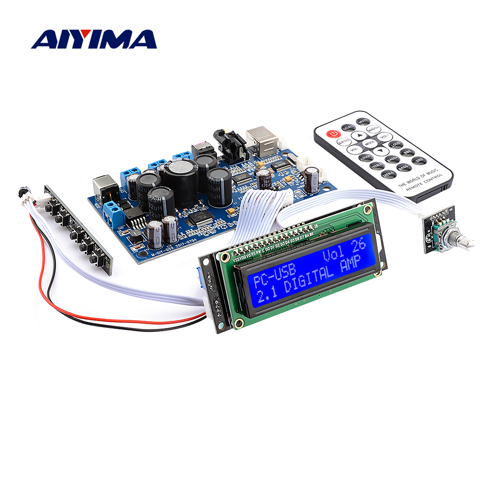 AIYIMA Amplificador STA350 Power Digital Amplifier 2.1 2.0 Sound Speaker Amplifier Coaxial Fiber USB Input PCM2704 Audio Decoder