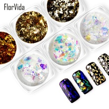 FlorVida 6pcs Kit Nail Art Foil Stickers For Nails Chrome Tin Flake Laser Sticker Set for Manicure Decorations