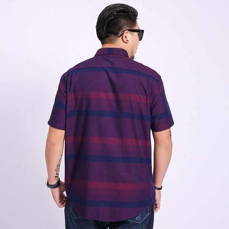 Plus size nova marca de linho algodão verão fino ajuste camisas casuais manga curta camisa listrada social dos homens vestido camisas chemise homme
