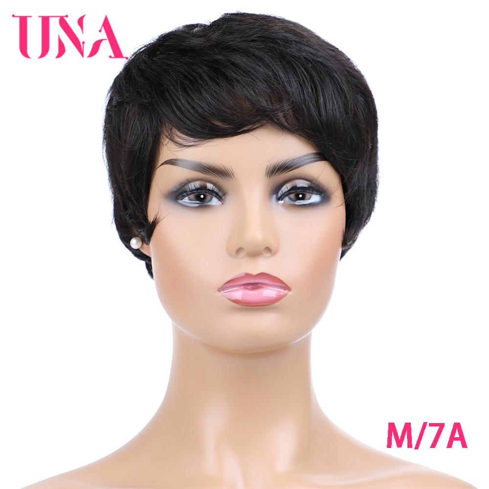 Non-Remy Short Human Hair Wigs For Women Straight Indian Human Hair Wigs 7A Middle Ratio 120% Density Machine Wigs 6
