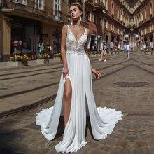 Женское свадебное платье в стиле бохо с кружевной аппликацией