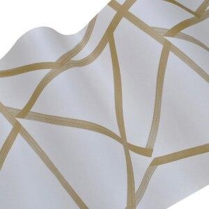 Image 5 - Papel tapiz geométrico 3D para decoración del hogar papel tapiz con diseño moderno de rayas y triángulos, para dormitorio y sala de estar, color azul y Beige