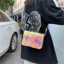 Fresh Transparent PVC Gel Bag 2021 Summer New Fashion Graffiti Ins Girl Beautiful Crossbody Small Square Bag