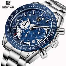 BENYAR Top Luxury Brand Moon Phase Watches Men Waterproof Chronograph Military Sports Quartz Watch Male Clock Relogio Masculino