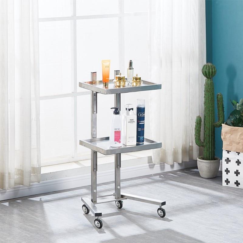New Hairdressing Stainless Steel Cart Beauty Salon Stroller Japan Hair Salon Tool Cart Folding Two Table Trolley