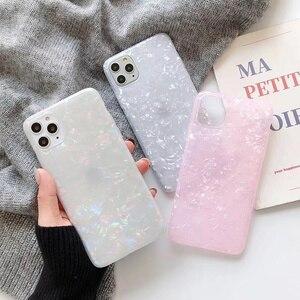 Funda de lujo para teléfono con purpurina para iPhone 7 Plus fundas con patrón de concha para iPhone 11Pro XS Max XR 6 6S 8 Plus IMD suave funda de silicona